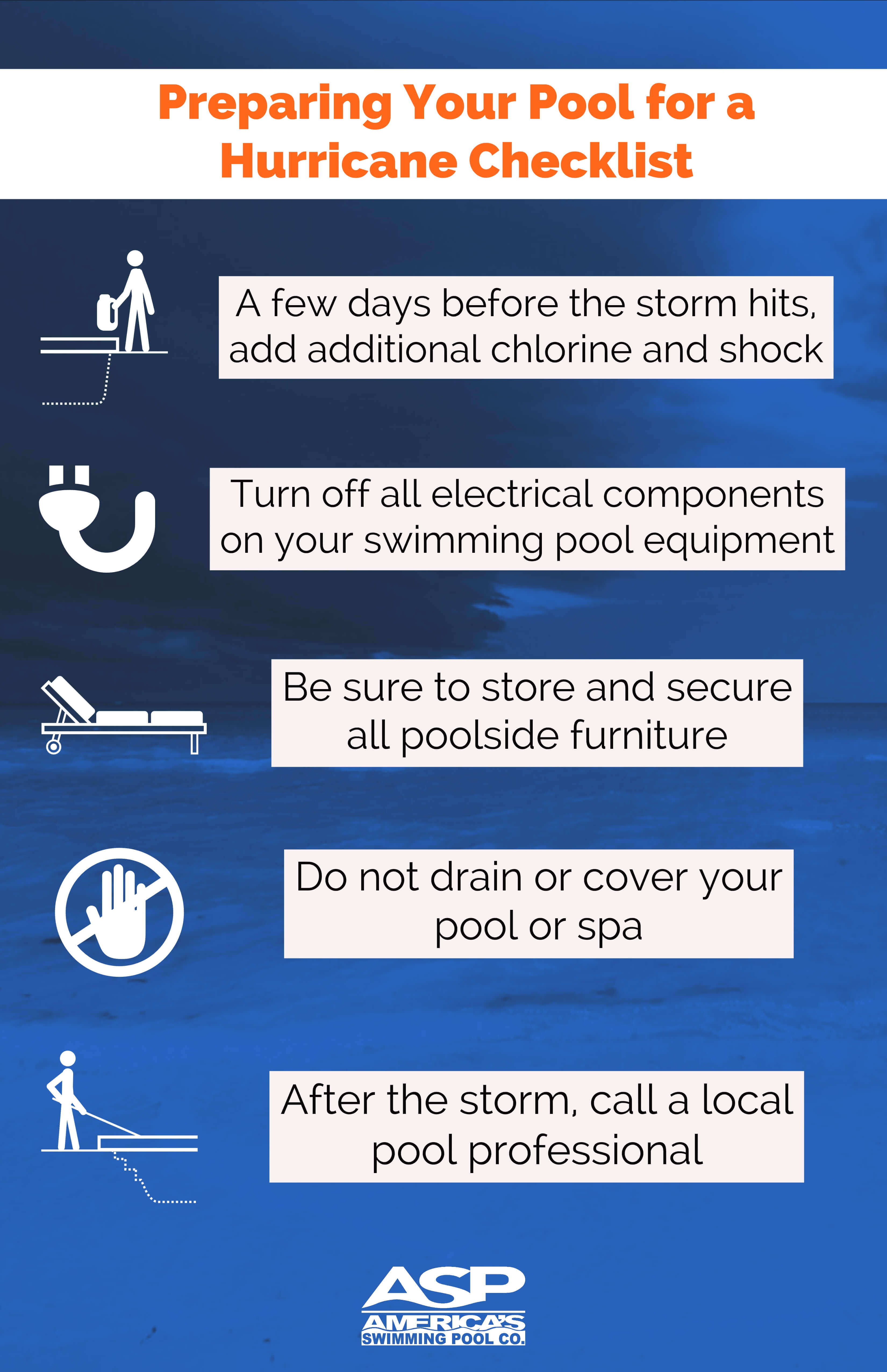 Preparing your pool for a hurricane checklist