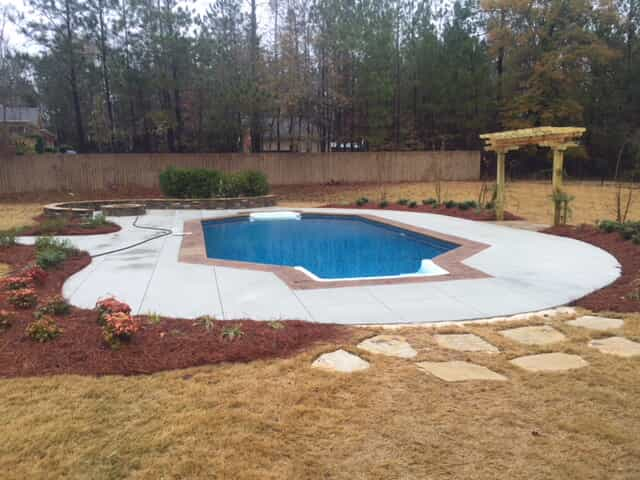 Vinyl liner replacement & deck renovation, after addition of new swimming pool vinyl liner and new swimming pool deck and coping